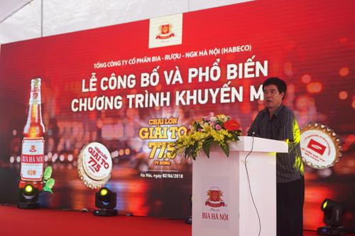 Ông Dương Như Quang - chủ tịch Hiệp hội những người kinh doanh Bia Hà Nội phát biểu tại buổi lễ.