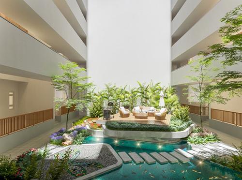 Phối cảnh vườn nhiệt đới bên trong dự án Topaz Twins giúp đối lưu không khí, đưa khí tươi đến từng căn hộ.