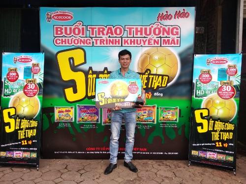 Anh Nguyễn Minh Hải Hải ngụ tại Thái Nguyêntrong buổi trao giải ngày 12/06.