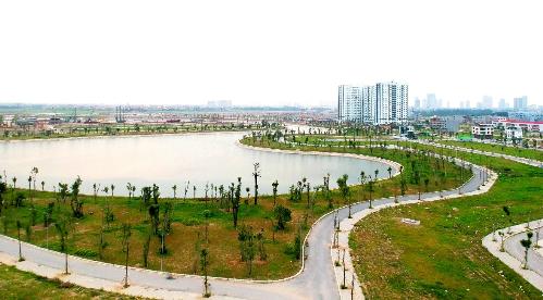 Hai hồ điều hòa diện tích 30ha trong lòng khu đô thị Thanh Hà Mường Thanh
