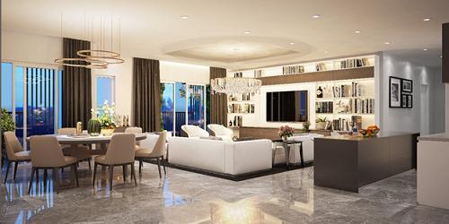 Phối cảnh căn hộ Topaz Twins có hai ban công và thiết kế rộng thoáng, tối đa không gian mở, tăng hiệu quả lọc không khí.