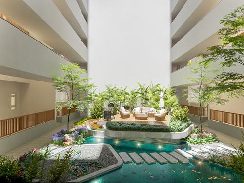 Phối cảnh khu vườn nhiệt đới với vốn đầu tư gần trăm tỷ đồng của dự án Topaz Twins (Biên Hòa, Đồng Nai).