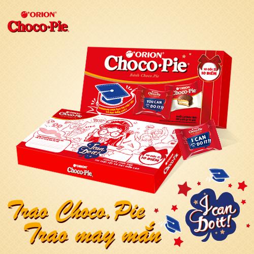Chỉ cần viết lời chúc vào khung nhỏ phía sau hộp bánh, Choco.Pie có thể trở thành một chiếc bùa may ý nghĩa mà nhẹ nhàng nhất cho mọi sĩ tử.