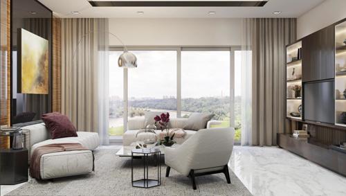 Sky villa có diện tích lớn, trần cao, thiết kế thông minh hạn chế vách ngăn phòng, giúp tối ưu không gian thoáng, kèm gói nội thất sang trọng.