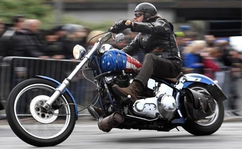 Xe Harley Davidson trong một buổi diễu hành tại Đức cách đây vài ngày. Ảnh: Reuters