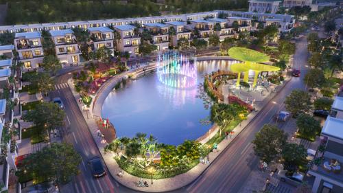 Toàn cảnh Thang Long Home - Hưng Phú với điểm nhấn là hồ cảnh quan xanh mát nằm ngay trung tâm dự án.