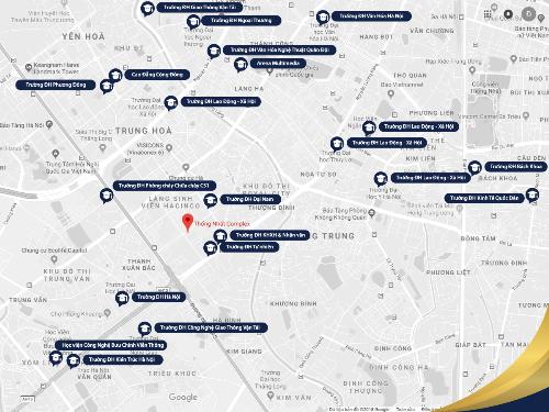 Với vị trí đắc địa, Thống Nhất Complex dễ dàng kết nối với hàng chục trường ĐH lớn tại Hà Nội.