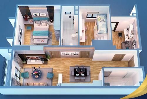 Thiết kế căn hộ thông minh, các căn hộ đều có hai mặt tiền thoáng.