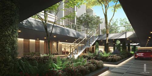 Hầm ánh sáng được thiết kế với giếng trời cùng mảng xanh tự nhiên. Dự án được đầu tư và phát triển bởiTTG Holding. Webside: eden.lancaster.com.vn.