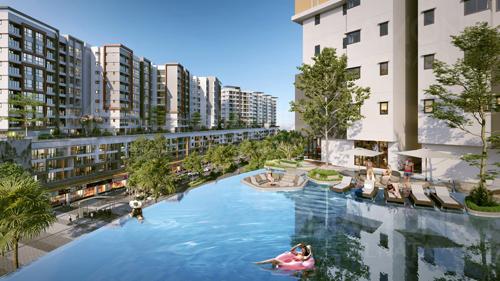 Dự án có hệ thống tiện ích dành riêng cho cư dân, nổi bật là bể bơi vô cực tại tầng 5.