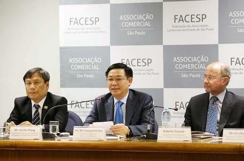 Phó thủ tướng Vương Đình Huệ tham dự diễn đàn doanh nghiệp Việt Nam - Brazil tại SaoPaulo. Ảnh:VGP