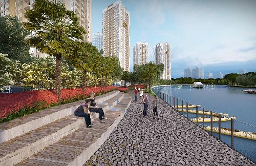 Dự án tiếp giáp bờ sông tạo cảm giác thoải mái, môi trường sống trong lành.