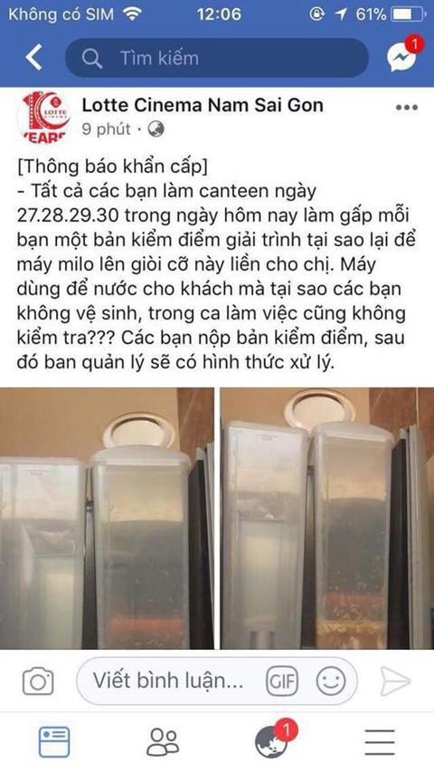 Quản lý công ty vô tình đăng hình ảnh máy pha sữa có giòi lên fanpage rạp. Ảnh: Internet.