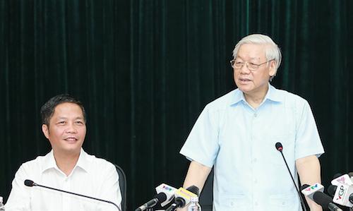 Tổng bí thư Nguyễn Phú Trọng làm việc tại Bộ Công Thương ngày 11/7.