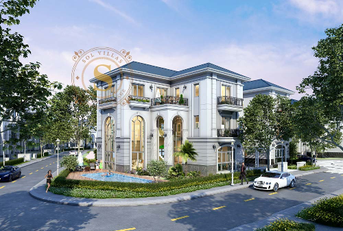 Phối cảnh tổng quan một biệt thự điển hình của khu biệt thự compound cao cấp Sol Villas.