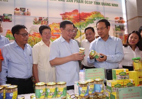 Phó thủ tướng Vương Đình Huệ kiểm tra sản phẩm nông nghiệp tiêu biểu của tỉnh Quảng Ninh. Ảnh:VGP
