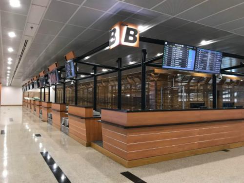 Quầy checkin mới của Vietjet tại nhà ga T1, sân bay quốc tế Yangon, Malaysia.