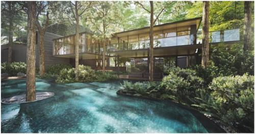 Phối cảnh ngoại khu spa của dự án Green Star Sky Garden với cảnh quan thiên nhiên bao bọc.