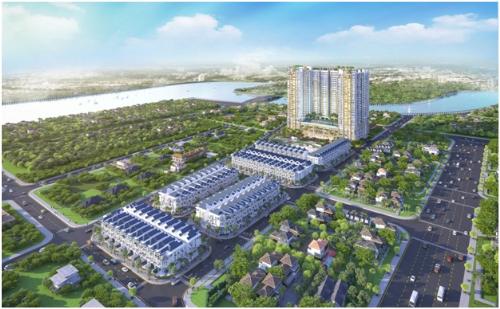 Các dự án chịu chi vốn lớn, dành quỹ đất lớn cho cảnh quan dễ tạo thiện cảm với người mua nhà. Ảnh: Phối cảnh toàn khu dự án Green Star Sky Garden.