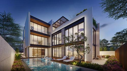 Mỗi căn biệt thự có kết cấu một hầm, một trệt, 2 lầu, một sân thượng và được trang bị sẵn khu vực bể bơi và thang máy riêng. Gia chủ có thể tùy biến theo sở thích và nhu cầu cá nhân.