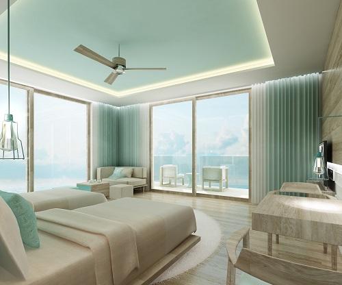 Phối cảnh nội thất căn hộ nghỉ dưỡng Fusion Vũng Tàu, hướng nhìn ra công viên Bãi Trước.