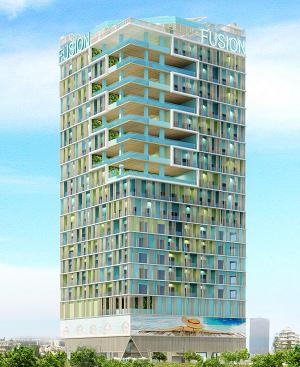 Phối cảnh tổng thể dự án Fusion Vũng Tàu với 8 hồ bơi tràn bờ nằm ở vị trí góc tòa căn hộ.