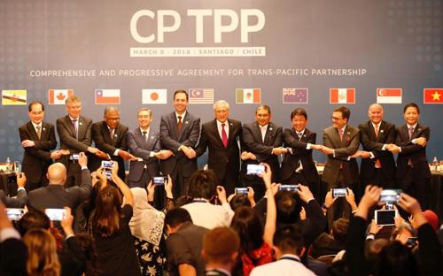 Đại diện các nước tham gia ký kết CPTPP tại Chile. Ảnh:Reuters
