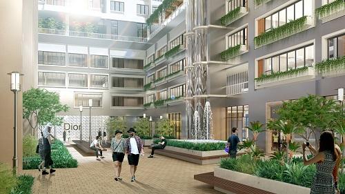 Chủ đầu tư dành khoảng không lớn trong lõi tòa nhà để phát triển mảng xanh, tạo độ thông thoáng cho các căn hộ phía bên trong. Ảnh phối cảnh Green Star Sky Garden.