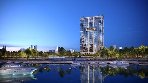Phát triển dự án chú trọng không gian xanh là hướng đi nhiều chủ đầu tư lựa chọn. Ảnh phối cảnh tổng thể dự án Sky89 (89 Hoàng Quốc Việt, quận 7, TP HCM) của chủ đầu tư An Gia Investment.