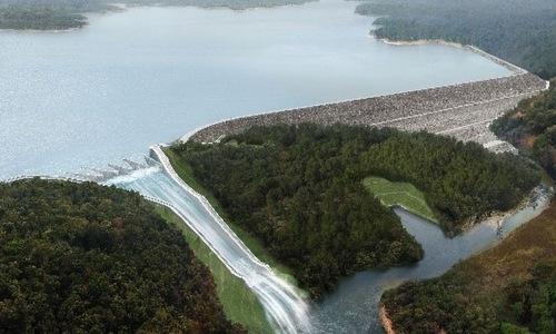 Hình mô phỏng đập nước thuỷ điện Xe Pian - Xe Namnoy khi hoạt động năm 2019. Ảnh: PNPC