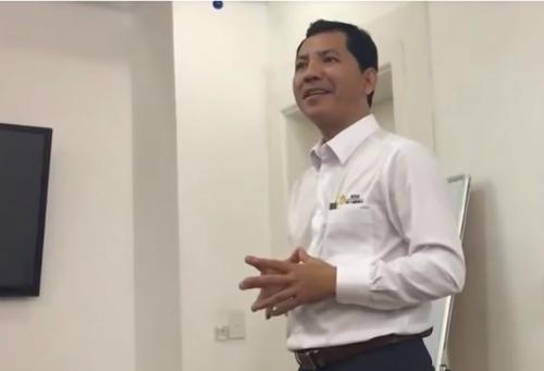 ÔngLê Minh Tâm trong một buổi gặp gỡ nhà đầu tư vào tháng 4/2018.