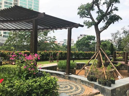 Hệ thống cảnh quan sân vườn tại D. Le Roi Soleil đã sẵn sàng phục vụ cư dân.Website: quangan.vn