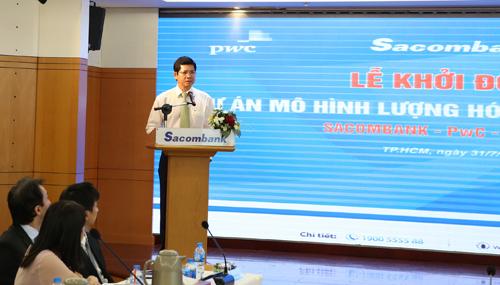 Ông Phạm Văn Phong - Phó chủ tịch thường trực HĐQT Sacombank phát biểu tại sự kiện khởi động dự án.