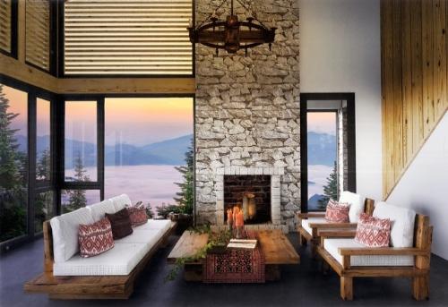 Thiết kế nội thất trong các căn biệt thự sử dụng đá, gỗ, kính... lấy cảm hứng từ phong cách nghỉ dưỡng hiện đại và văn hóa dân tộc miền cao.