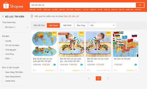 Hình ảnh đồ chơi Bản đồ cắm cờ thế giới được rao bán trên trang Shopee trước khi được gỡ bỏ.