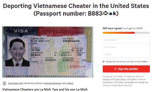 Bản kiến nghị trục xuất ông Lê Minh Tâm. Ảnh chụp màn hình