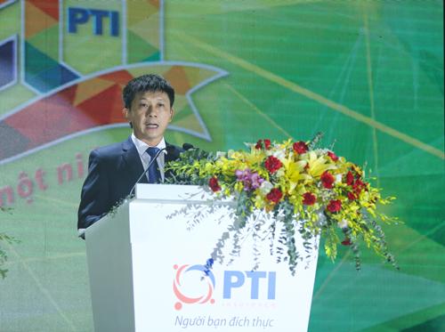 Ông Bùi Xuân Thu - Tổng giám đốc PTI phát biểu tại buổi lễ kỷ niệm 20 năm thành lập doanh nghiệp.
