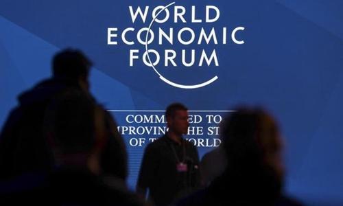 Một phiên họp của Diễn đàn Kinh tế Thế giới tại Davos đầu năm nay. Ảnh: Bloomberg