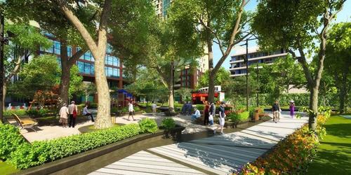 Dự án có nhiều diện tích cây xanh đem lại không gian sống trong lành, thoáng đãng.