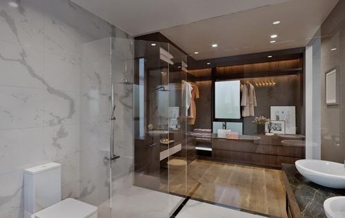 Với mặt sàn rộng rãi, chủ nhân có thể thiết kế phòng tắm như một spa thu nhỏ để thư giãn sang mỗi ngày làm việc.