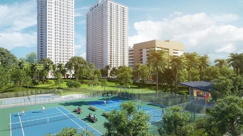Hiện 2 sân tennis bên trong dự án đã hoàn thành, sẵn sàng phục vụ cư dân.
