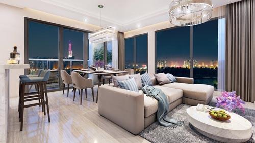 Thiết kế thông minh với diện tích đa dạng từ 46 đến 136m2 tại tòa tháp Canary.