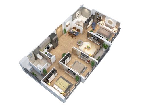 Phối cảnh 3D căn hộ 3 phòng ngủ tại dự án Eco-Green Saigon.