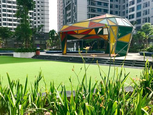 Cây xanh, thảm cỏ, công viên ngập tràn sắc xanh tại TNR Goldmark City.