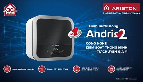 Bình nước nóng Andris2 áp dụng công nghệ hiện đại.