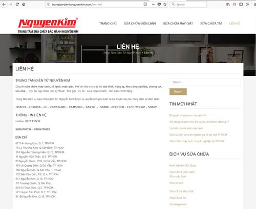 Website giả mạo là trung tâm bảo hành của Nguyễn Kim để lừa người tiêu dùng. Ảnh chụp màn hình