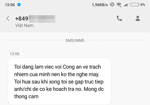 Tin nhắn của ông Hoàng Ngọc gửi VnExpress. Ảnh: Anh Tú