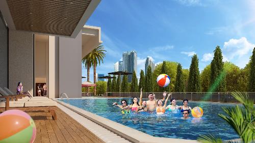 Bể bơi ngoài trời tại Eco Dream. Đăng ký tham dự sự kiện: Đất xanh Miền Bắc 0943669191; Phú Tài Land 0918195588; CenLand 0916200220; XMH 0971995569.