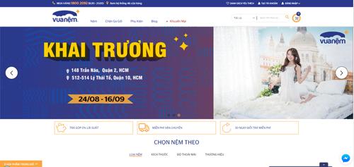 Giao diện website mới của Vua Nệm.