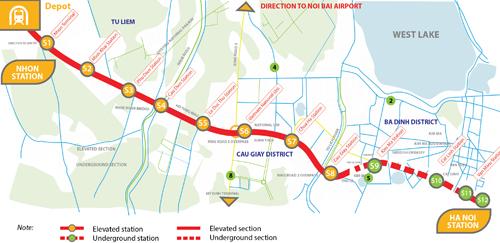 Tuyến metro số 3, đoạn Nhổn - ga Hà Nội đi qua các quận: Nam Từ Liêm, Bắc Từ Liêm, Cầu Giấy, Ba Đình, Đống Đa, Hoàn Kiếm, gồm 12 nhà ga với 8 ga trên cao và 4 ga ngầm. Tổng chiều dài của tuyến là 12,5km, từ Nhổn đến ga Hà Nội trên đường Trần Hưng Đạo. Nguồn:ADB-MRB.